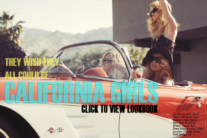 lauren elaine swim lookbook 2012 collection california girl made in the usa swimwear